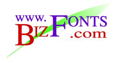 Logo for Bizfonts.com, which provides Linear & 2D Barcode Fonts.